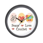 Peace Love Crochet Wall Clock