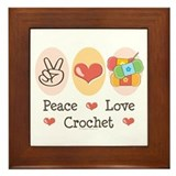 Peace Love Crochet Framed Tile