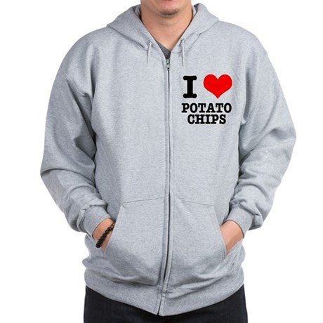I Heart (Love) Potato Chips Zip Hoodie
