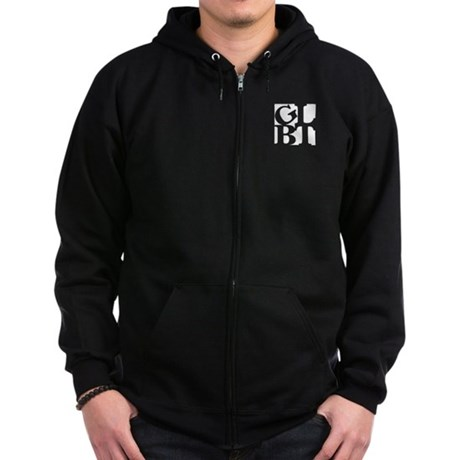 GLBT White Pocket Pop Zip Hoodie (dark)
