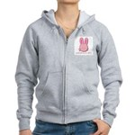 Breast Cancer Bunny Women's Zip Hoodie