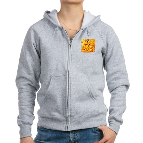 Fiery Maya Jaguar Head Women's Zip Hoodie