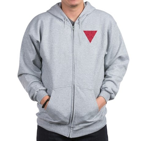 Pink Triangle Pocket Knot Zip Hoodie