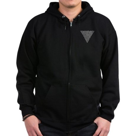 Charcoal Triangle Pocket Knot Zip Hoodie (dark)
