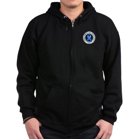 Pocket Colorectal Cancer Month Zip Hoodie (dark)