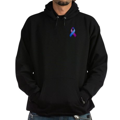 Blue and Purple Awareness Ribbon Hoodie (dark)
