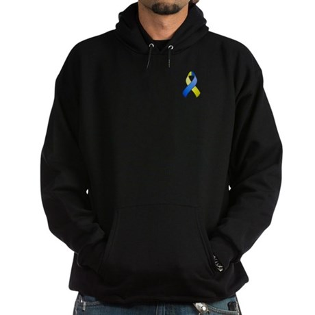 Blue and Yellow Awareness Ribbon Hoodie (dark)