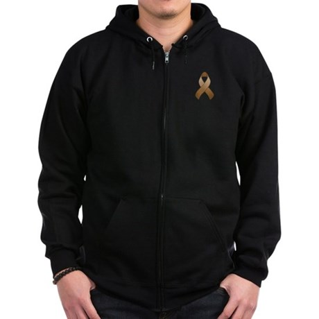 Brown Awareness Ribbon Zip Hoodie (dark)