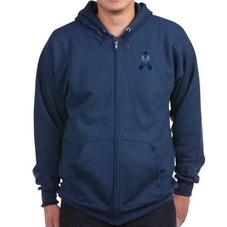 Dark Blue Awareness Ribbon Zip Hoodie (dark)