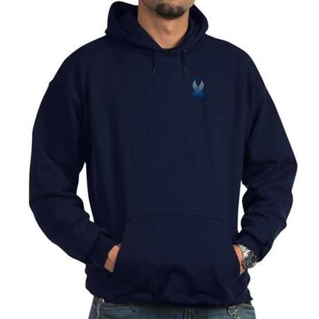 Dark Blue Awareness Ribbon Hoodie (dark)
