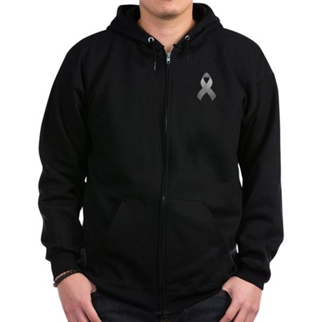 Gray Awareness Ribbon Zip Hoodie (dark)