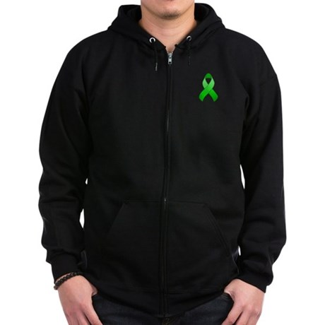 Green Awareness Ribbon Zip Hoodie (dark)