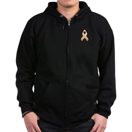 Peach Awareness Ribbon Zip Hoodie (dark)