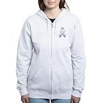 Pink White & Blue Ribbon Women's Zip Hoodie