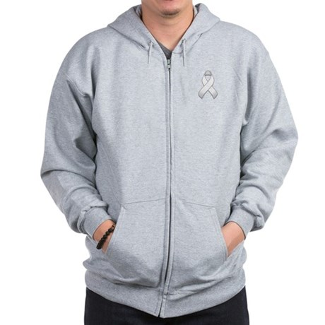 White Awareness Ribbon Zip Hoodie