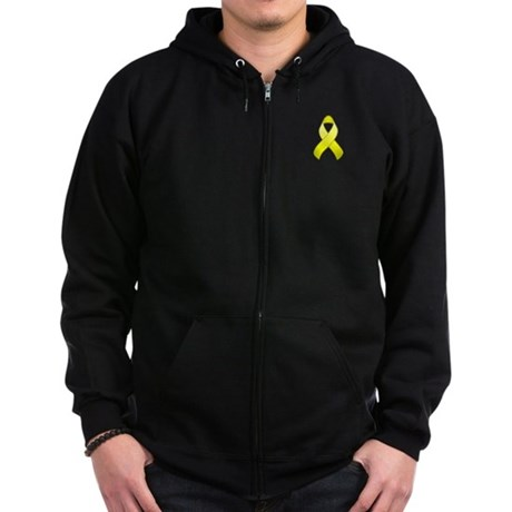 Yellow Awareness Ribbon Zip Hoodie (dark)