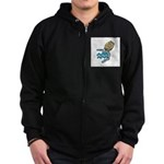 Aquarius Cool Water Design Zip Hoodie (dark)
