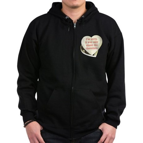Chocolate Anti-Valentine Zip Hoodie (dark)