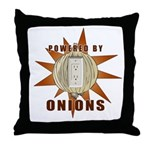Powered by Onions Throw Pillow