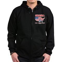 Obama for President Zip Hoodie (dark)