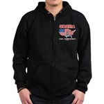 Obama for President Zip Hoodie (dark)