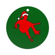 Christmas Skateboarder Ornament (Round)