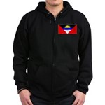 Antigua Barbuda Blank Flag Zip Hoodie (dark)