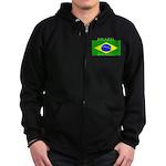 Brazil Brazilian Flag Zip Hoodie (dark)