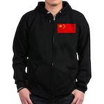 China Chinese Blank Flag Zip Hoodie (dark)