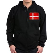 Denmark Danish Flag Zip Hoodie