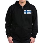 Finland Finish Blank Flag Zip Hoodie (dark)