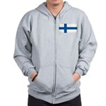 Finland Finish Blank Flag Zip Hoodie