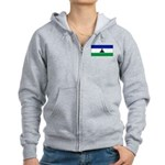 New Lesotho Flag Blank Women's Zip Hoodie