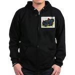 Black Frizzle Cochins2 Zip Hoodie (dark)