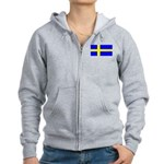 Sweden Blank Flag Women's Zip Hoodie
