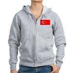 Turkey Turkish Blank Flag Women's Zip Hoodie