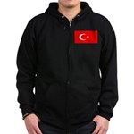 Turkey Turkish Blank Flag Zip Hoodie (dark)