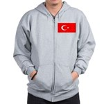 Turkey Turkish Blank Flag Zip Hoodie