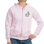 English Trumpeter Brown Splas Women's Zip Hoodie