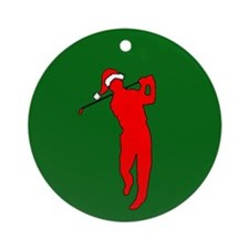 Christmas Golfer Ornament (Round)
