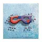 The Book of Mermaids Red&amp;Purple Mask Tile Coaster