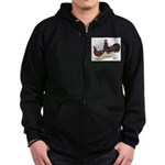 Red Leghorn Chickens Zip Hoodie (dark)