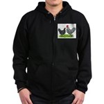 Marans Rooster and Hen Zip Hoodie (dark)