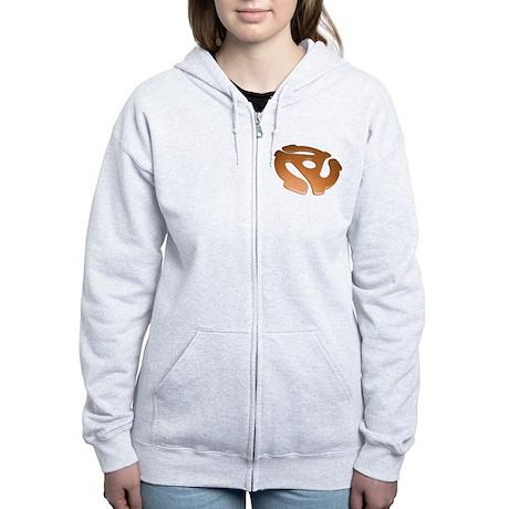 Orange 3D 45 RPM Adapter Women's Zip Hoodie