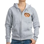 Orange 3D 45 RPM Adapter Women's Zip Hoodie