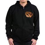 Orange 3D 45 RPM Adapter Zip Hoodie (dark)