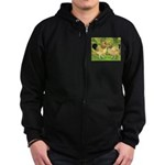 Wyandotte Rooster and Hen Zip Hoodie (dark)
