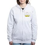 White Chinese Geese Women's Zip Hoodie