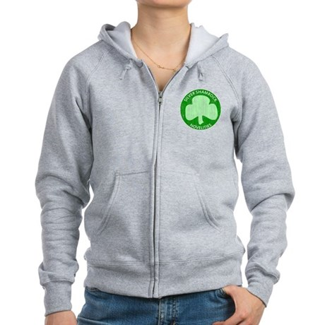 Silver Shamrock Womens Zip Hoodie