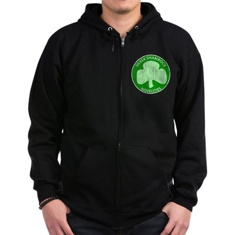 Silver Shamrock Zip Dark Hoodie